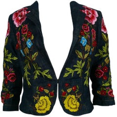 Christian Lacroix Vintage Embroidered Denim Blazer