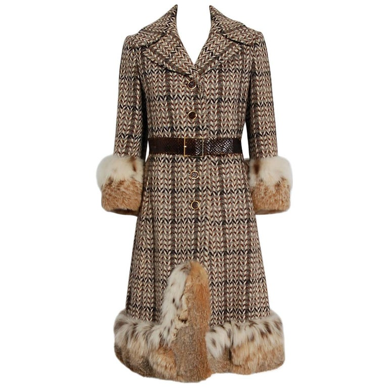 1970 Christian Dior Documented Wool Tweed & Lynx Fur Belted Princess Coat For Sale