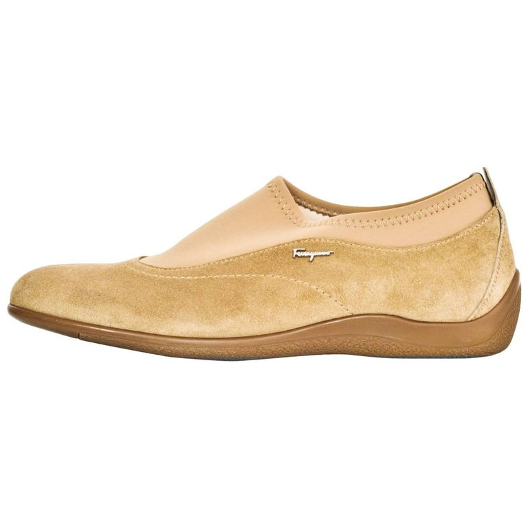 Salvatore Ferragamo Tan Suede Shoes Sz 37 For Sale