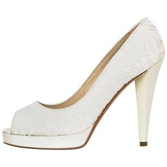 Oscar De La Renta White Lace Open-Toe Pumps Sz 38 with Box