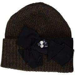 Lanvin Dark Khaki Wool Cap With Bow