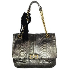 Lanvin Pewter Python Medium Happy Bag with DB