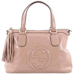 Gucci Convertible Zip Top Handle Bag Patent Medium