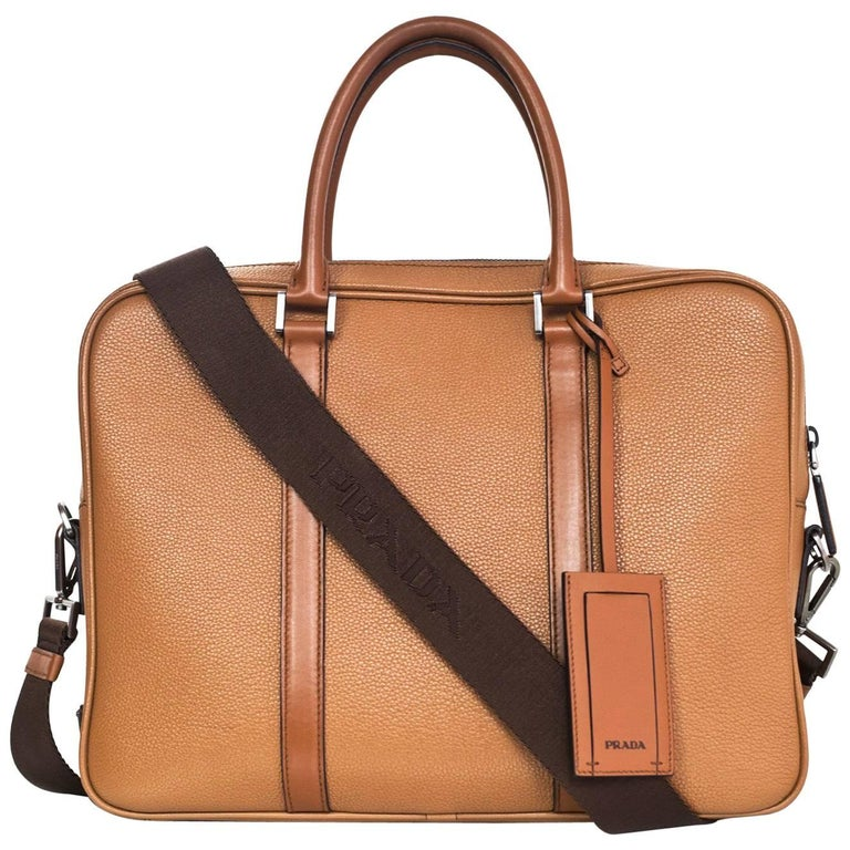 Prada Tan Grained Leather Briefcase/Laptop Bag with Strap rt. $2,200