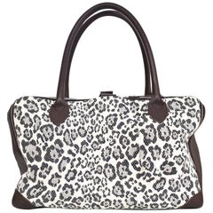 Golden Goose Canvas & Leather Leopard Medium Equipage Bag with DB
