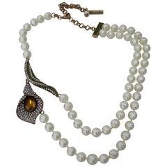 Rare Oscar De La Renta Signed Runway Jeweled Flower Calla Lily Pearl Necklace