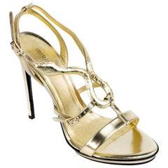 Roberto Cavalli Women's Metallic Gold Leather Pumps