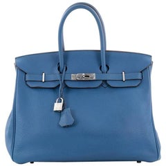 Hermes Birkin Handbag Blue Mykonos Clemence with Palladium Hardware 35