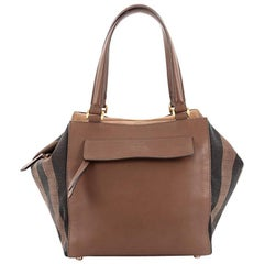 Fendi Boxy Tote Leather with Pequin Striped Canvas Large