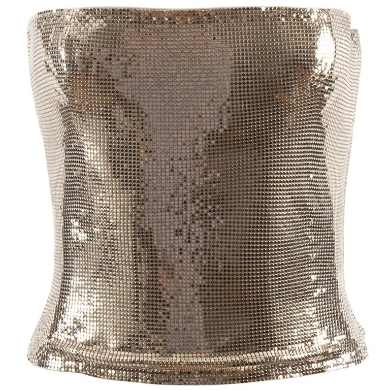 Gianni Versace Autumn-Winter 1998 silver metal mesh corset For Sale