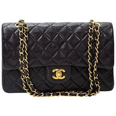"Vintage Chanel 2.55 10"" Double Flap Black Quilted Leather Shoulder Bag"