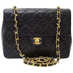 "Vintage Chanel 8"" Flap Black Quilted Leather Shoulder Mini Bag"