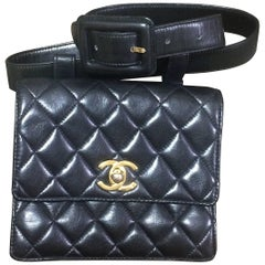 Vintage CHANEL square black lambskin waist purse, fanny pack with belt.