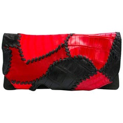 Balmain Red Leather Crocodile Clutch