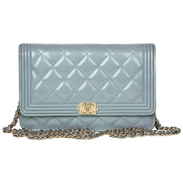 2016 Chanel Blue Quilted Iridescent Calfskin Boy Wallet-on-Chain WOC