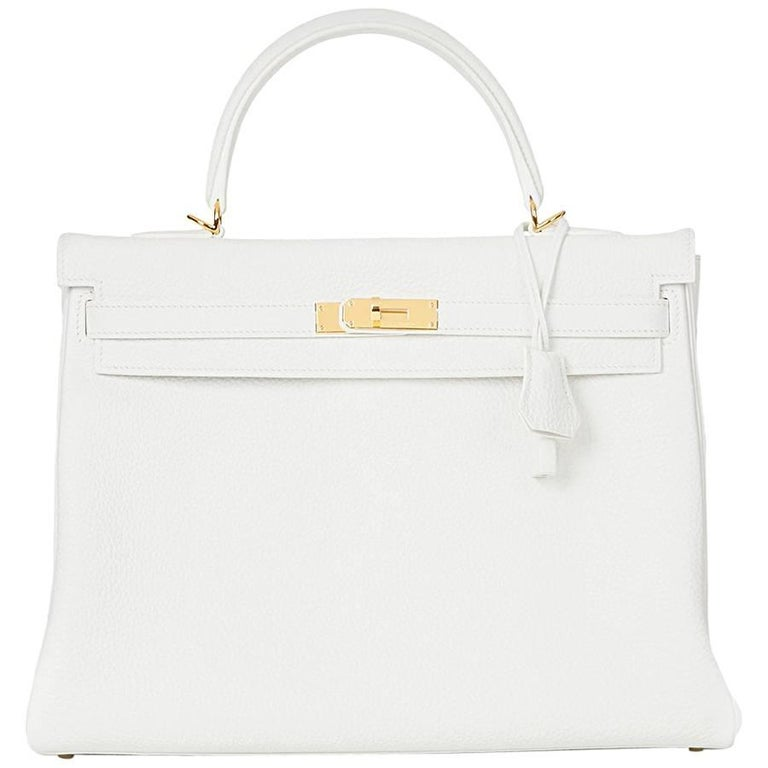 2015 Hermes White Clemence Leather Kelly 35cm Retourne 1