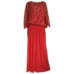Christian Dior red cocktail outfit, circa 1980, with embroided sequins