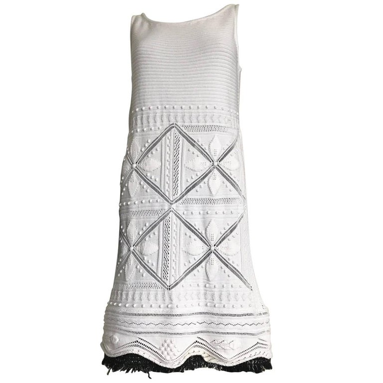 Chanel vintage dress in white wool knitting