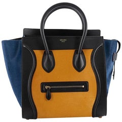 Celine Tricolor Luggage Handbag Pony Hair and Leather Mini