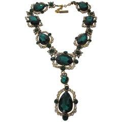 Stunning Signed Oscar De La Renta Runway Faux Emerald Designer Necklace