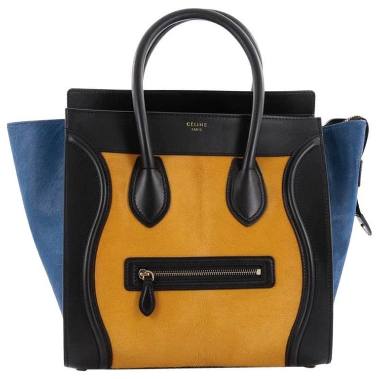 5c8c062c3492 Celine Tricolor Luggage Handbag Pony Hair and Leather Mini at 1stdibs