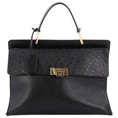 Balenciaga Le Dix Zip Cartable Top Handle Bag Leather and Ostrich Medium