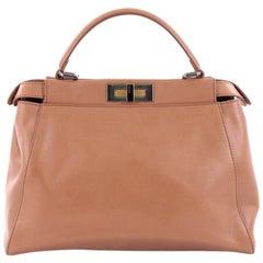 Fendi Peekaboo Handbag Leather with Python Interior Regular