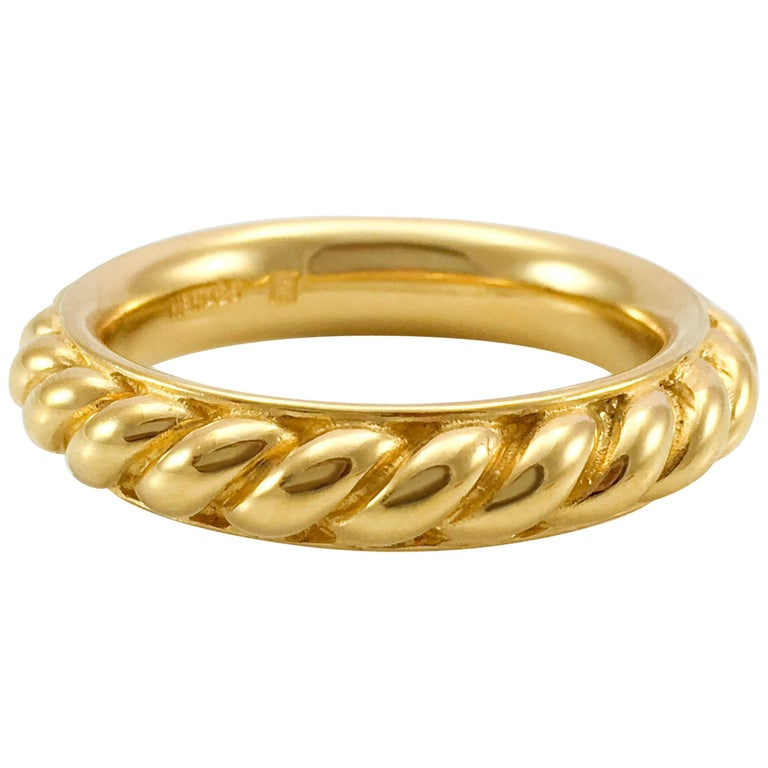 Hermes Large Gold-Plated Ribbed Scarf Ring