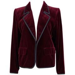 Yves Saint Laurent Rive Gauche Vintage Burgundy Velvet Blazer Jacket