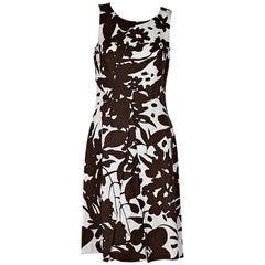 Brown & White Michael Kors Floral Sheath Dress