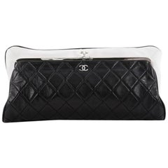 Chanel Pearl Clasp Frame Clutch Quilted Lambskin Large