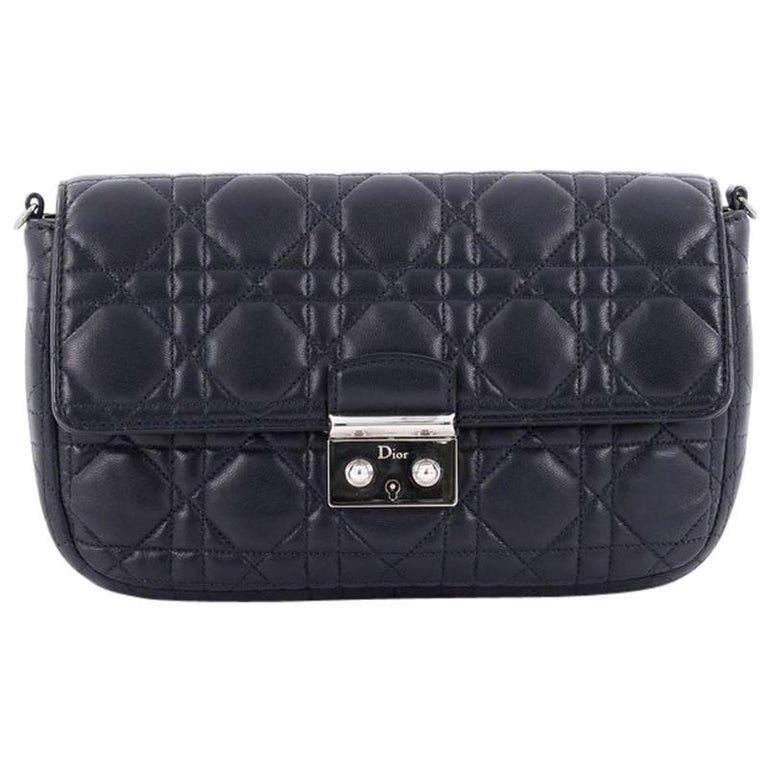 Christian Dior Miss Dior Promenade Pouch Cannage Quilt Lambskin Large For Sale