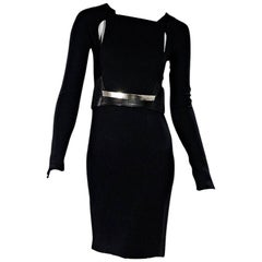 Black Gucci Long-Sleeve Belted Dress