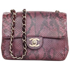 Chanel Purple Metallic Python Square Mini Flap Bag with DB