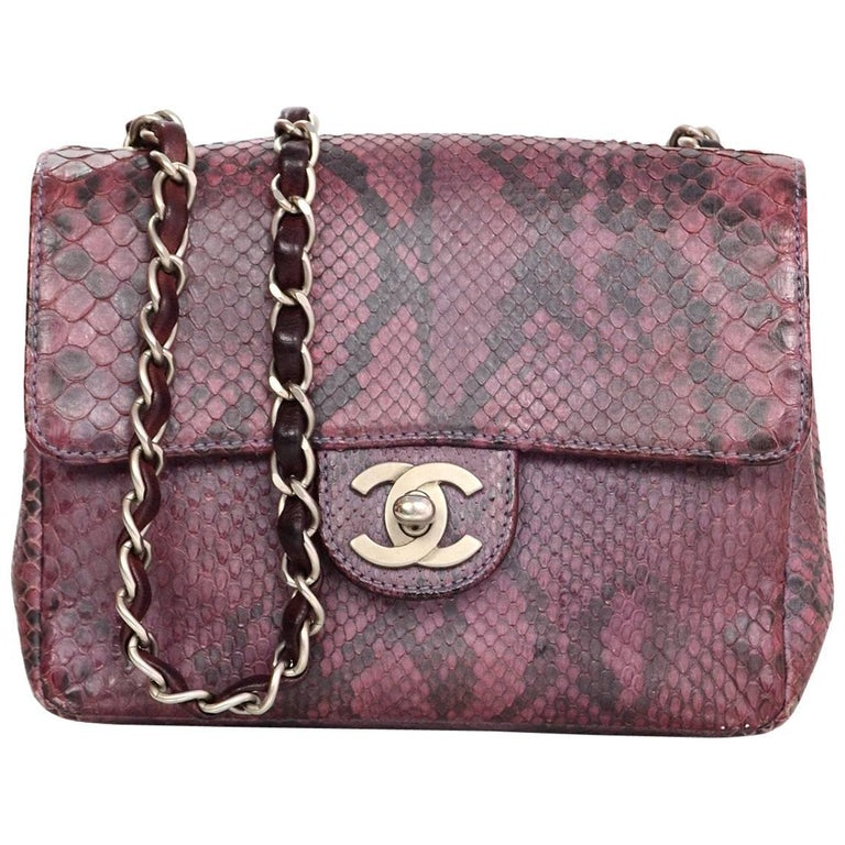 938aef89eda5 Chanel Purple Metallic Python Square Mini Flap Bag with Dust Bag For Sale