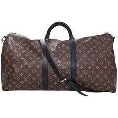 Louis Vuitton Monogram Macassar Keepall Bandouliere 55 Duffle Travel Bag
