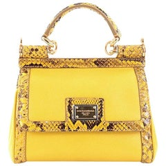 Dolce & Gabbana Miss Sicily Handbag Leather with Python Mini