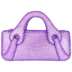 Carlos Falchi  Lavender Alligator Handbag with Top Stitching.