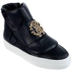 Roberto Cavalli Women's Black Zipped Hi-top Sneakers