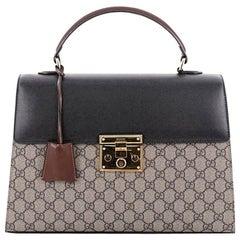 Gucci Padlock Top Handle Bag GG Canvas and Leather Medium