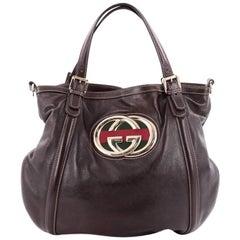 Gucci Britt Web Convertible Satchel Leather Large