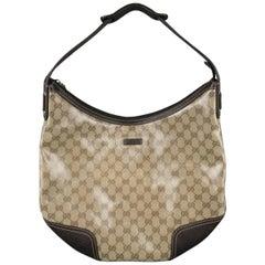 GUCCI Beige Monogram Coated Canvas Crystal Princy Hobo Handbag