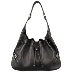 BURBERRY LONDON Black Leather Drawstring Hobo Handbag