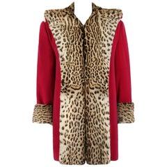 Vtg RUSSEKS c.1940's Raspberry Red Wool Genuine Fur Trim Tuxedo Collar Box Coat