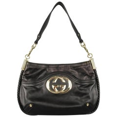 GUCCI Black Braided Piping Leather Vintage Gold G Shoulder Bag