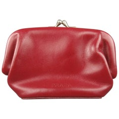 PRADA Burgundy Enmbossed Leather Coin Purse