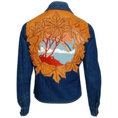 1970's Antonio Giuseppe Leather & Embroidered Denim Rainbow Novelty Jacket