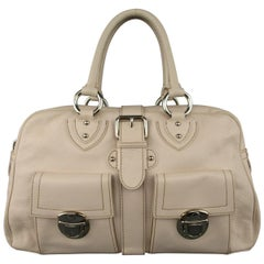 MARC JACOBS Cream Beige Leather 2 Pocket Top Handles VENETA Handbag