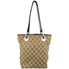GUCCI Beige Guccissima Monogram Canvas Leather Handle Mini Tote Bag