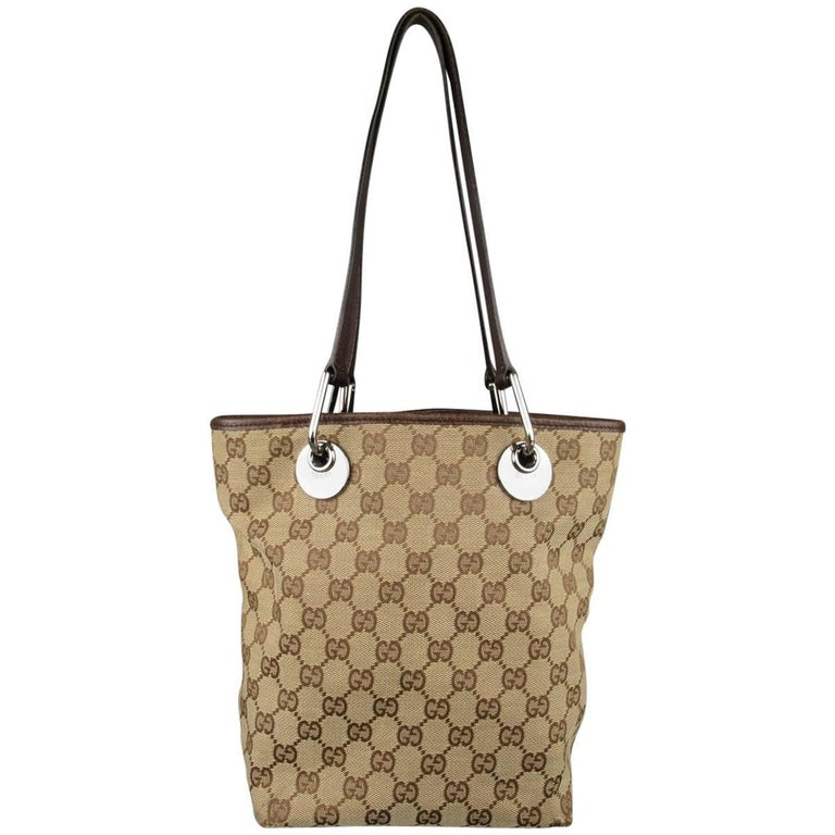 ebf8af7f5bf0 GUCCI Beige Guccissima Monogram Canvas Leather Handle Mini Tote Bag For Sale